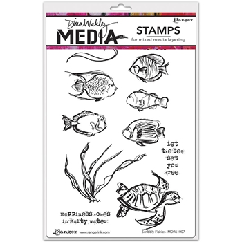 Dina Wakley SCRIBBLY FISHIES Media Cling Rubber Stamp MDR61007