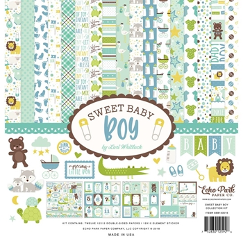 Echo Park SWEET BABY BOY 12 x 12 Collection Kit sbb143016