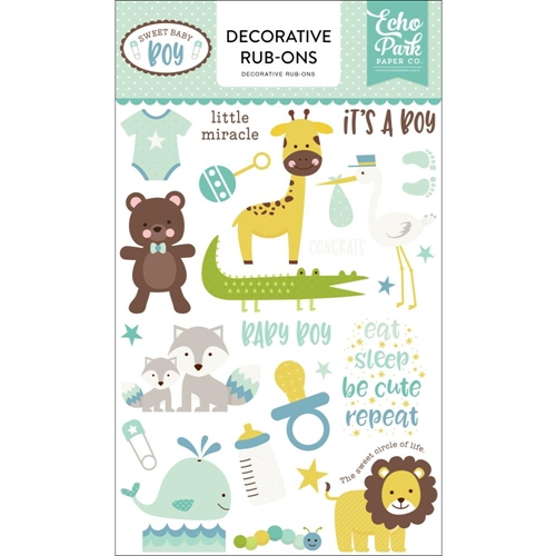 Echo Park SWEET BABY BOY Decorative Rub-ons sbb143065* Preview Image