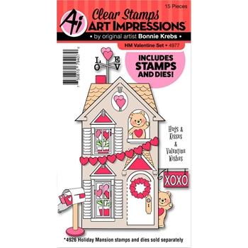 Art Impressions VALENTINE Holiday Mansion Clear Stamp and Die Set 4977