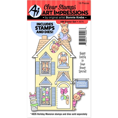 Art Impressions EASTER Holiday Mansion Clear Stamp and Die Set 4976 Preview Image