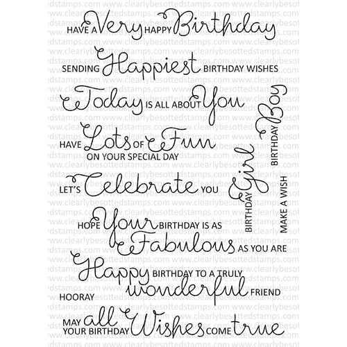 Clearly Besotted SCRUMPTIOUS BIRTHDAY SENTIMENTS Clear Stamp Set Preview Image