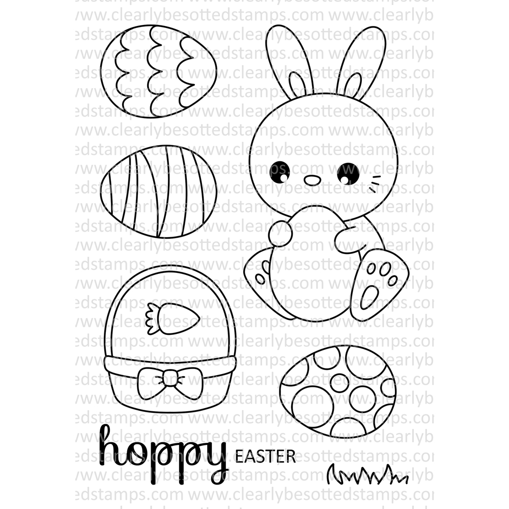 Clearly Besotted HOPPY EASTER Clear Stamp Set zoom image