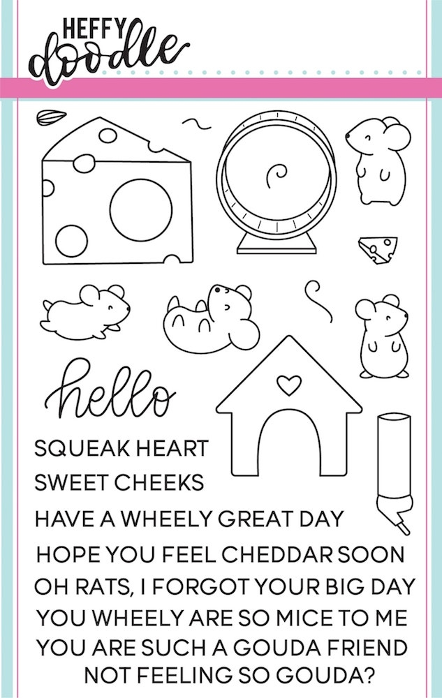 Heffy Doodle HELLO SQUEAKHEART Clear Stamps hfd0033 zoom image