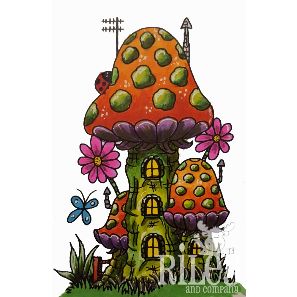 Riley and Company Mushroom Lane TRI-LEVEL HOUSE Cling Stamp Set ML-2422 zoom image