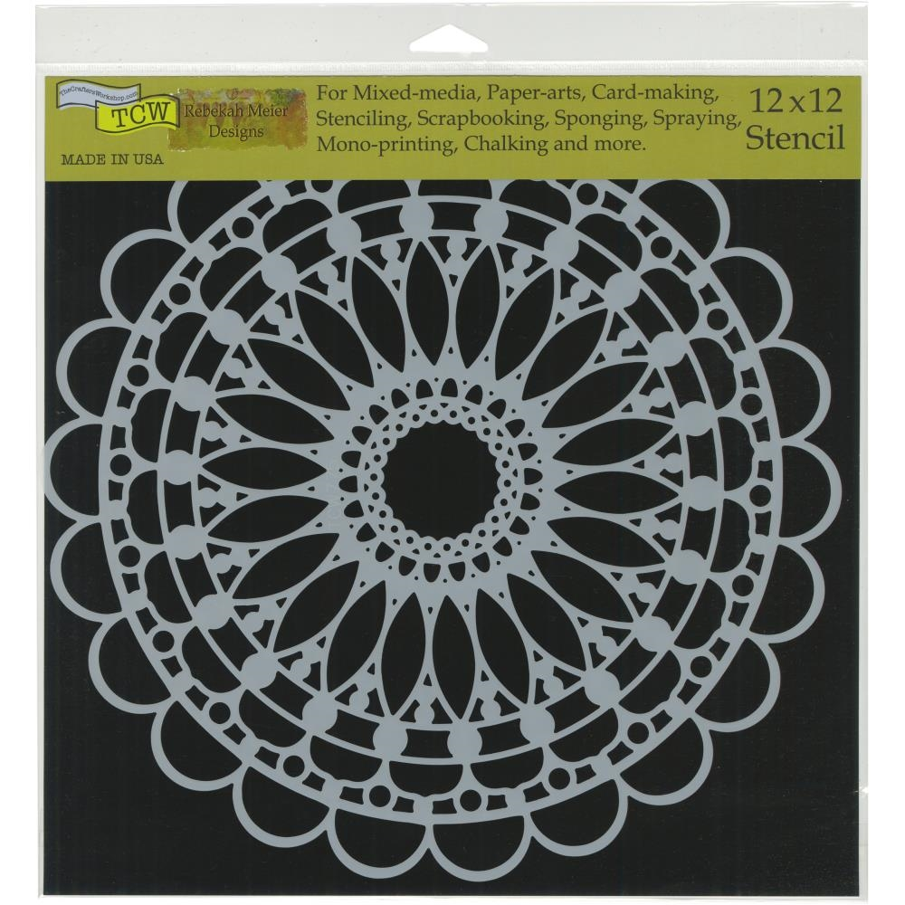 The Crafter's Workshop SCALLOPED MANDALA 12x12 Stencil tcw775 zoom image