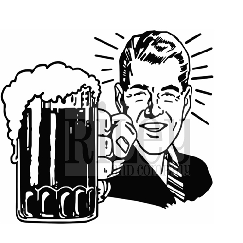 Riley And Company Funny Bones BEER BART Cling Rubber Stamp FBP-021 Preview Image