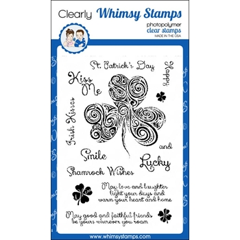 Whimsy Stamps SHAMROCK SWIRL Clear Stamps cwsd257