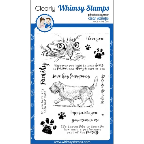 Whimsy Stamps LOVE HAS FOUR PAWS Clear Stamps cwsd265 Preview Image
