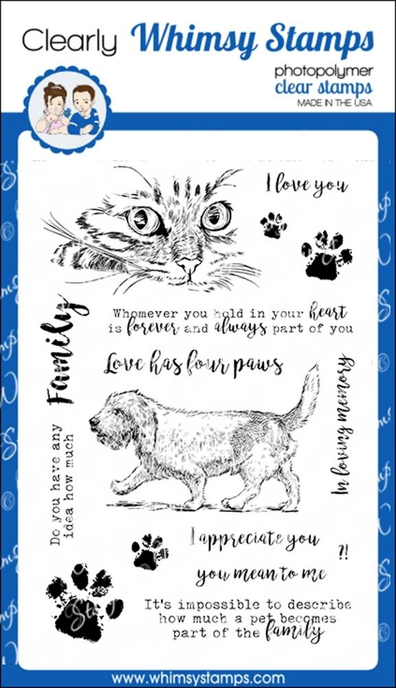Whimsy Stamps LOVE HAS FOUR PAWS Clear Stamps cwsd265 zoom image
