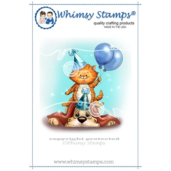 Whimsy Stamps BIRTHDAY PILE-UP Rubber Cling Stamp c1074