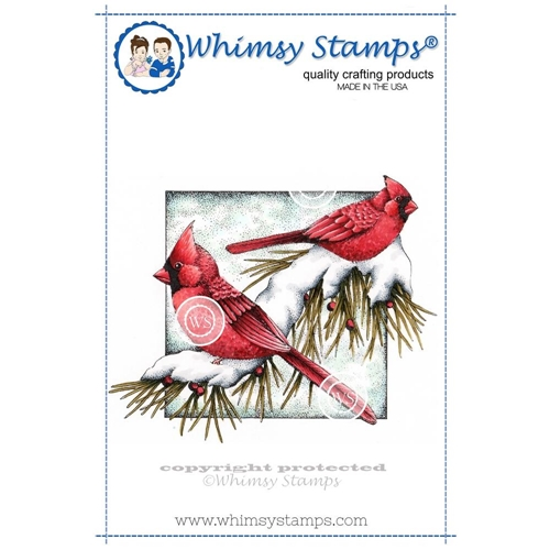 Whimsy Stamps WINTER CARDINALS Rubber Cling Stamp da1022 Preview Image