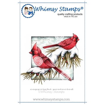 Whimsy Stamps WINTER CARDINALS Rubber Cling Stamp da1022