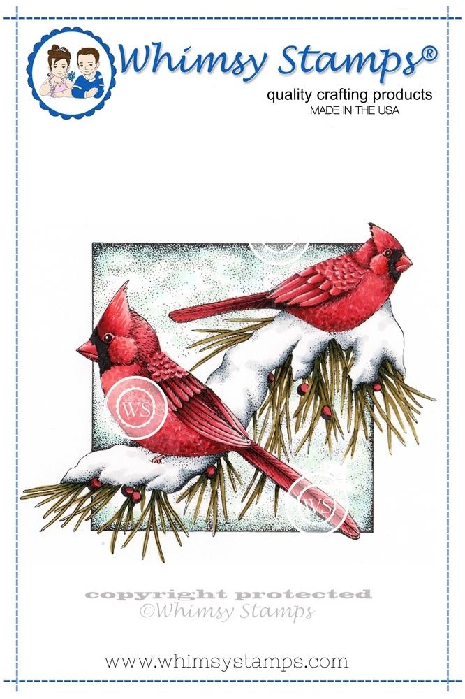 Whimsy Stamps WINTER CARDINALS Rubber Cling Stamp da1022 zoom image