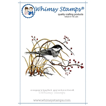 Whimsy Stamps WINTER CHICKADEE Rubber Cling Stamp da1023