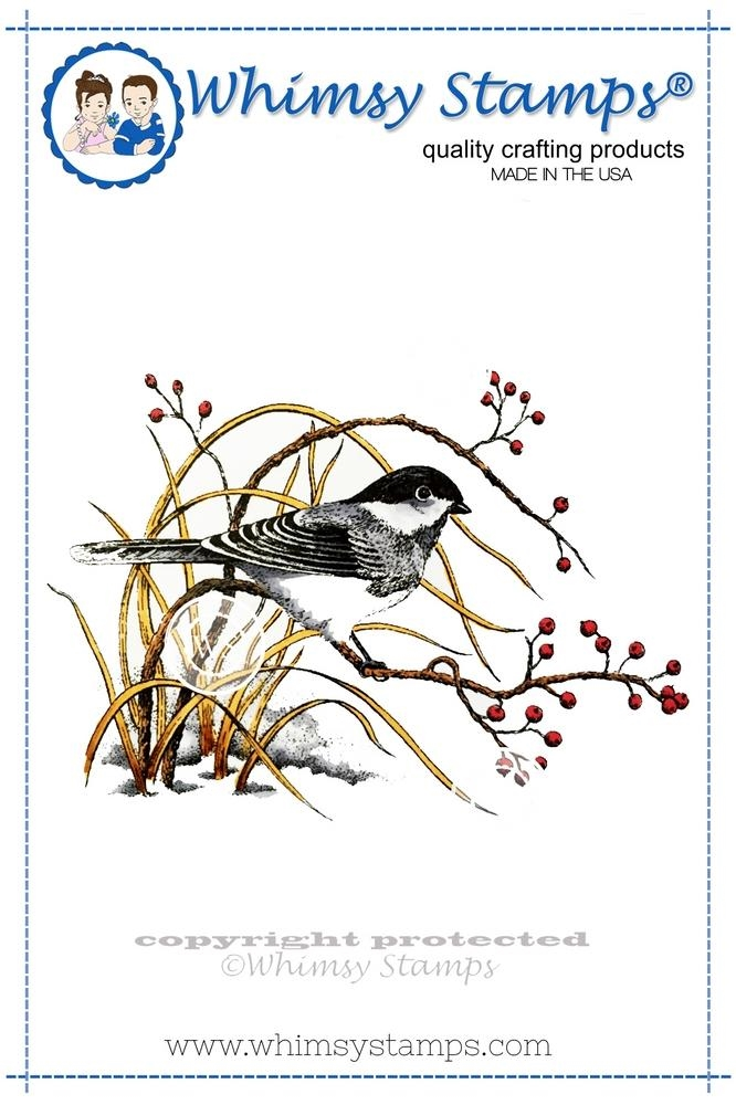 Whimsy Stamps WINTER CHICKADEE Rubber Cling Stamp da1023 zoom image