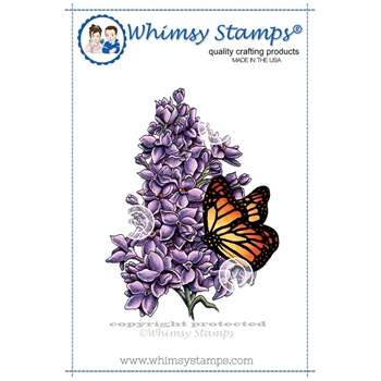 Whimsy Stamps LILAC AND BUTTERFLY Rubber Cling Stamp da1016