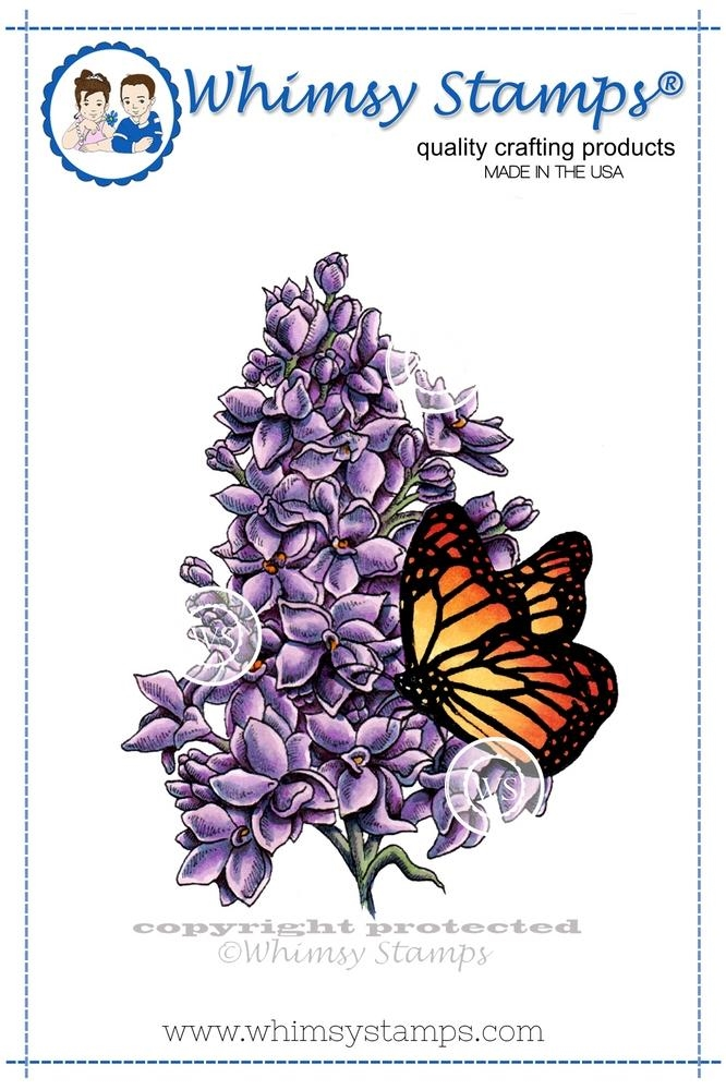 Whimsy Stamps LILAC AND BUTTERFLY Rubber Cling Stamp da1016 zoom image