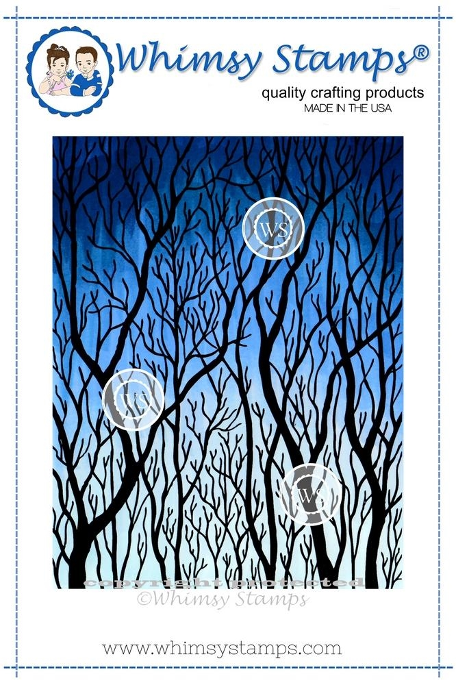 Whimsy Stamps TREE SILHOUETTE Rubber Cling Stamp da1021 zoom image
