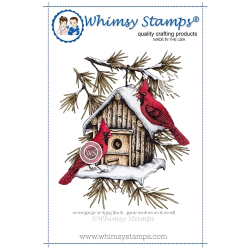 Whimsy Stamps CARDINAL BIRDHOUSE Rubber Cling Stamp da1005 Preview Image