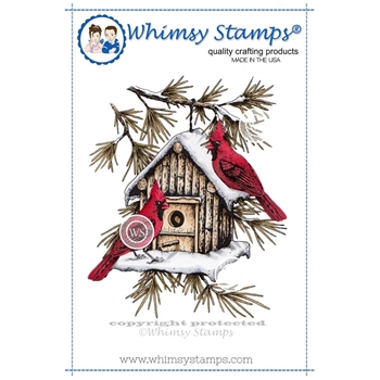 Whimsy Stamps CARDINAL BIRDHOUSE Rubber Cling Stamp da1005