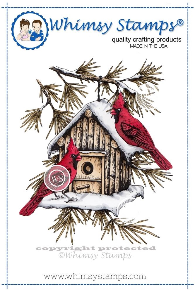 Whimsy Stamps CARDINAL BIRDHOUSE Rubber Cling Stamp da1005 zoom image