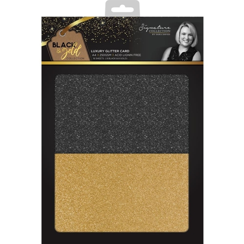 Crafter's Companion BLACK & GOLD A4 Luxury Glitter Cardstock s-bg-glitter Preview Image