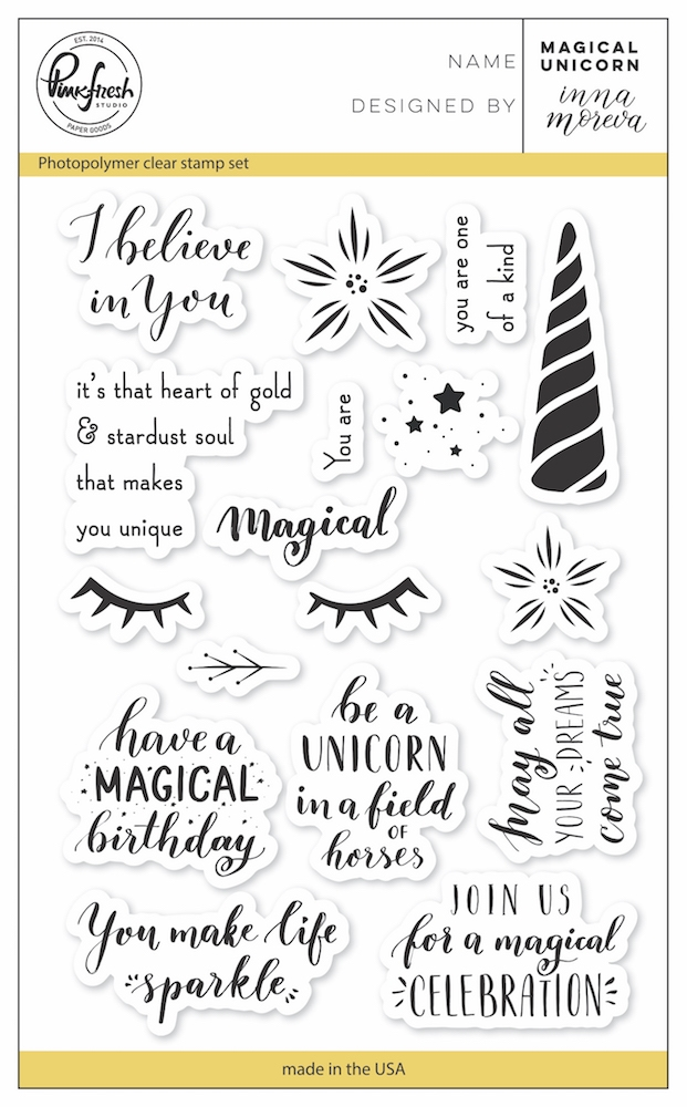 PinkFresh Studio MAGICAL UNICORN Clear Stamp Set pfcs1718 zoom image