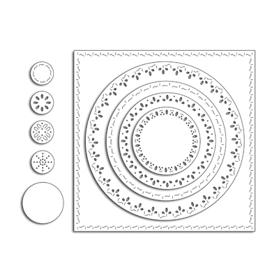 Penny Black STITCHED SQUARE AND CIRCLES Thin Metal Creative Dies 51-422 zoom image