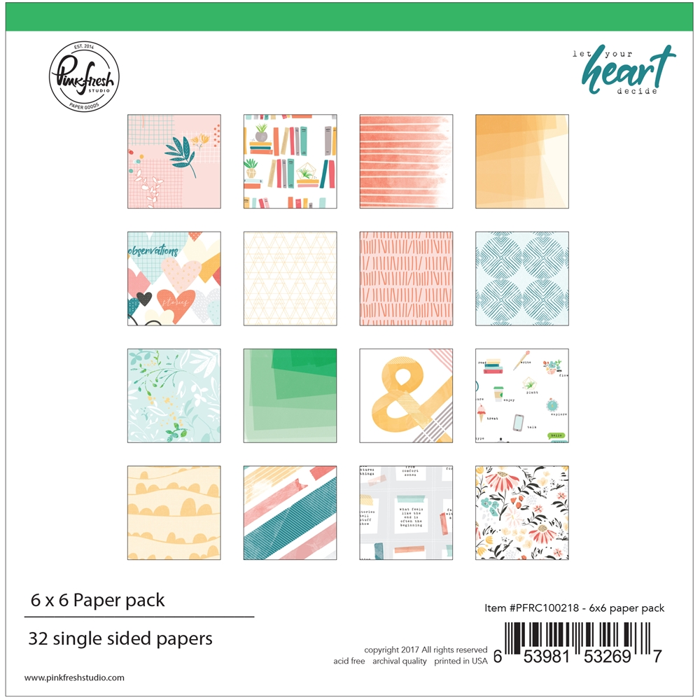 Pinkfresh Studio LET YOUR HEART DECIDE 6 x 6 Paper Pack pfrc100218* zoom image