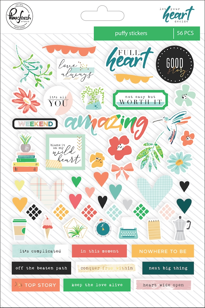 Pinkfresh Studio LET YOUR HEART DECIDE Puffy Stickers pfrc100318 zoom image