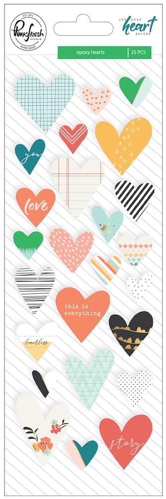 Pinkfresh Studio LET YOUR HEART DECIDE Epoxy Heart Stickers pfrc101018 zoom image