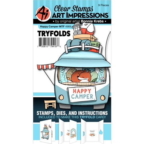 Art Impressions HAPPY CAMPER Mini Try Folds Clear Stamps and Dies 4969* Preview Image