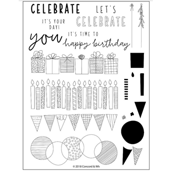 Concord & 9th BIRTHDAY STACKS Clear Stamp Set 10352*