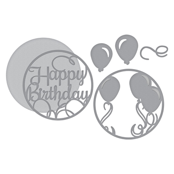 S5-345 Spellbinders LAYERED HAPPY BIRTHDAY Etched Dies Elegant 3D Vignettes by Becca Feeken