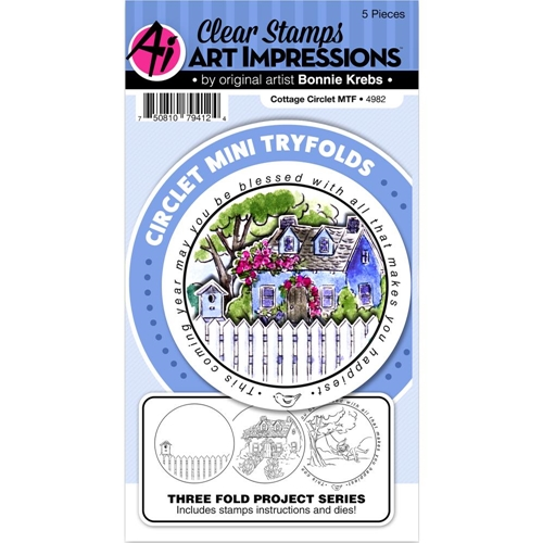 Art Impressions COTTAGE Circlet Mini Tryfolds Stamp and Die Set 4982 Preview Image
