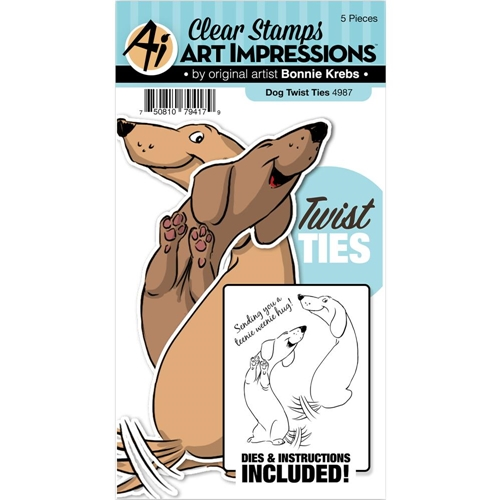 Art Impressions DOG Twist Ties Stamp and Die Set 4987 Preview Image