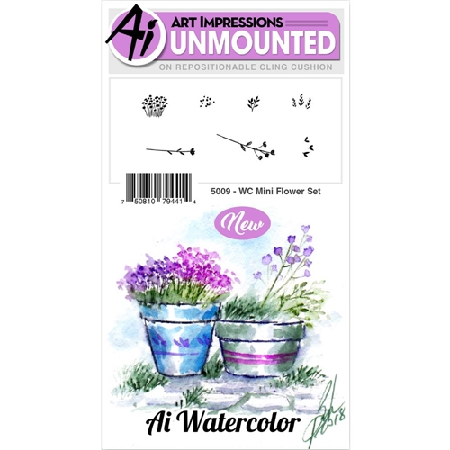Art Impressions MINI FLOWER SET Watercolor Cling Rubber Stamps 5009 Preview Image