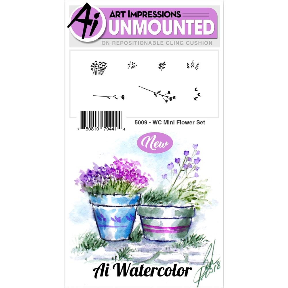 Art Impressions MINI FLOWER SET Watercolor Cling Rubber Stamps 5009 zoom image