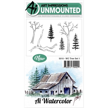 Art Impressions TREE SET 1 Watercolor Cling Rubber Stamps 5010