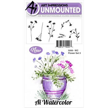 Art Impressions FLOWER SET 3 Watercolor Cling Rubber Stamps 5008