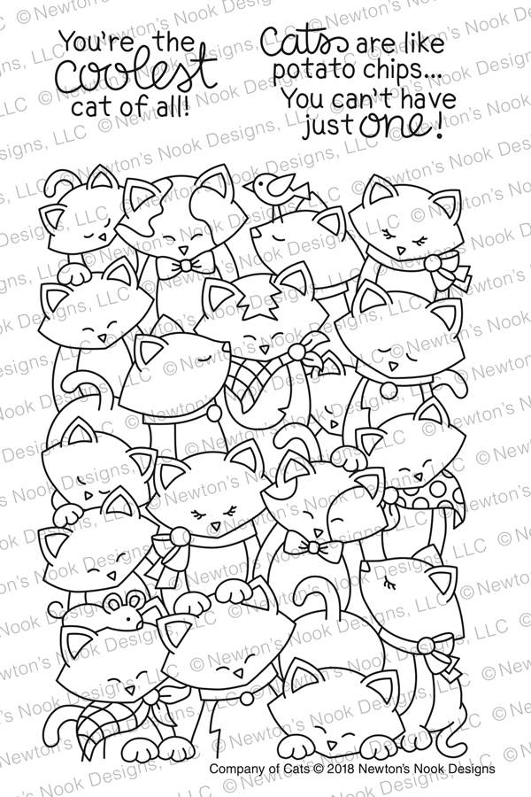 Newton's Nook Designs COMPANY OF CATS Clear Stamp Set NN1802S03 zoom image