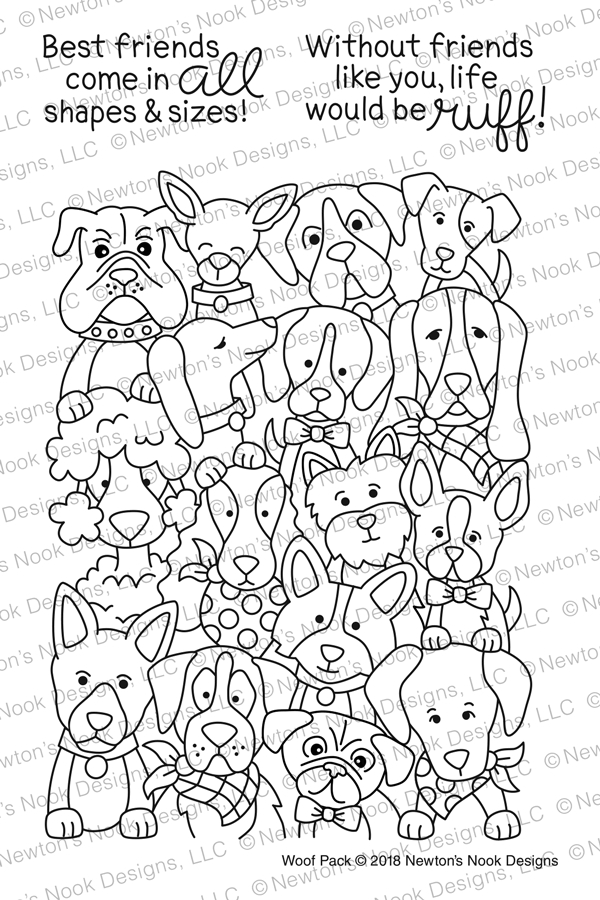 Newton's Nook Designs WOOF PACK Clear Stamp Set NN1802S04 zoom image