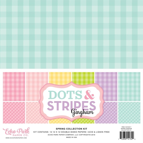 Echo Park SPRING GINGHAM DOTS AND STRIPES 12 x 12 Collection Kit gh18017 Preview Image