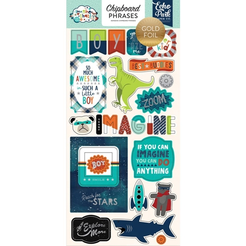 Echo Park IMAGINE THAT BOY Chipboard Phrases itb147022* Preview Image