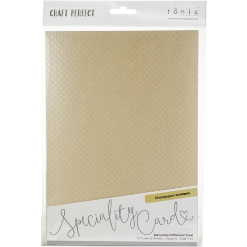 Tonic CHAMPAGNE HARLEQUIN Luxury Embossed Cotton A4 Paper Pack 9824e Preview Image