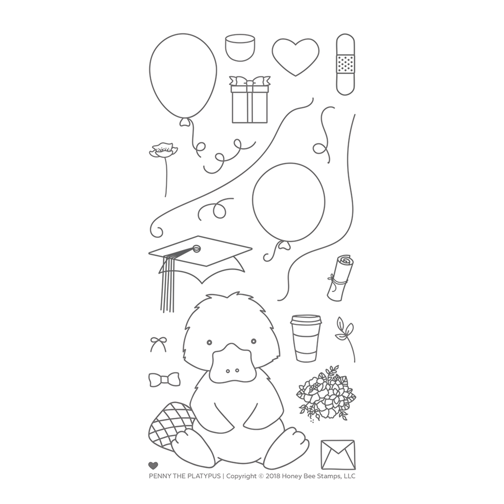 Honey Bee PENNY THE PLATYPUS Clear Stamp Set hbst-095* zoom image