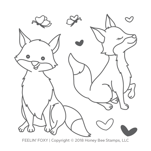 Honey Bee FEELIN' FOXY Clear Stamp Set hbst-099 Preview Image