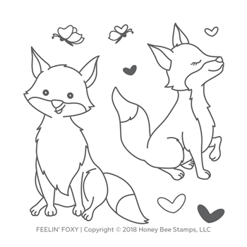 Honey Bee FEELIN' FOXY Clear Stamp Set hbst-099