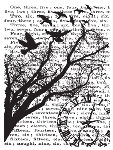 Tim Holtz Rubber Stamp TIME COLLAGE p4-1295 Bird Tree Stampers Anonymous Preview Image